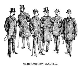 Vintage Hand Drawn Gentleman Set. Men's clothing. Retro Illustration in ancient engraving style. Raster version of illustration