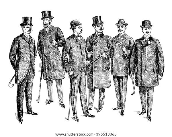 Vintage Hand gezeichnet Gentleman Set. Herrenbekleidung. Retro Illustration im antiken Gravierstil. Raster-Version der Illustration