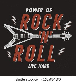 Vintage Hand Drawn Rock n Roll Poster, Retro Music Background. Musical Tee Graphics Design. Live Hard T-Shirt.Stock .