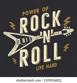 Vintage Hand Drawn Rock n Roll Poster, Rock Music Poster. Hard Music Tee Graphics Design. Rock Music T-Shirt. Power of Rock n Roll quote. Stock retro wallpaper, emblem