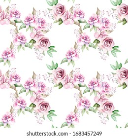 vintage hand drawn watercolor drawing pink roses flowers, leaves in the garden on a seamless white background for use in design, textiles, wallpaper, wrapping paper, stationery, scrapbooking