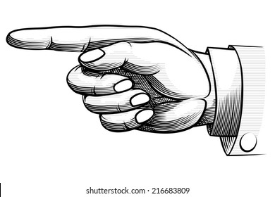 Vintage hand-drawn male hand  with sleeve of a business suit and shirt  pointing left direction  isolated on white