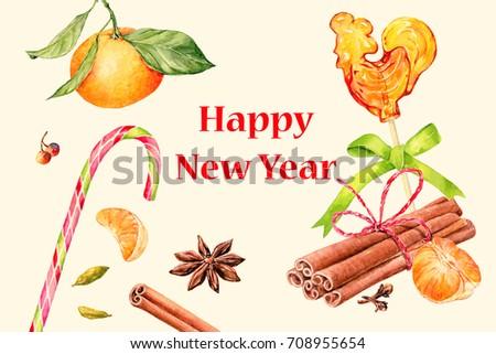 Vintage Happy New Year Postcard Set Stock Illustration 708955654 ...