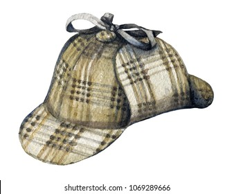 Vintage hat of Sherlock Holmes on white backgound. Watercolor hand drawn illustration