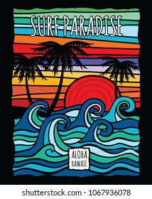 Vintage hawaii aloha surf graphic with ocean waves and palm trees t-shirt design. Surf ocean wave and palm, tree in color vintage style illustration