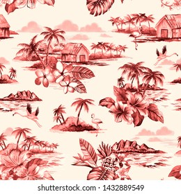 Vintage Hawaiian barkcloth design of tropical island scenes in a washed away ink effect. Seamless repeat pattern.
