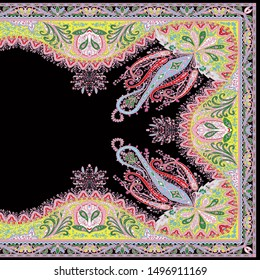 Vintage High Resolution Four Side Border. Beautiful Vintage Seamless Paisley Ornamental Segment on Black for Textile and Digital Print - Illustration