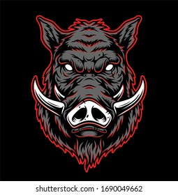 Vintage hog head concept in gray and red colors isolated illustration