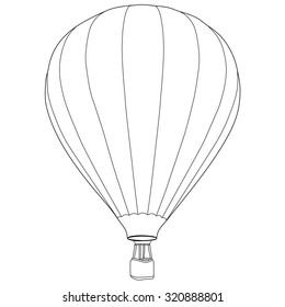 Vintage hot air balloon with basket raster icon isolated, summer sport, outline drawings