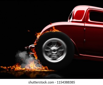 Vintage hot rod doing a burn out on a black background. room for test or copy space. 3d rendering