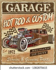 Vintage Hot Rod garage poster.