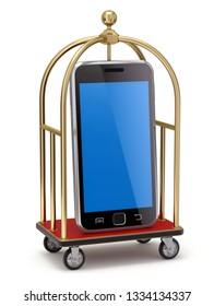 Vintage hotel cart with mobile phone - 3D illustration