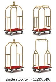 Vintage hotel cart set on white background - 3D illustration