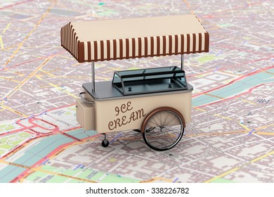 Vintage Ice Cream Cart over map extreme closeup