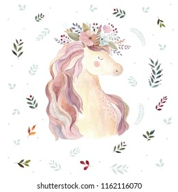 Vintage illustration with cute unicorn