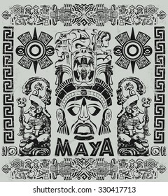 Vintage illustration with Mayan motifs