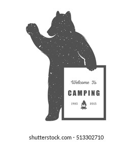 Vintage Illustration with sign camping - Grunge effect. Funny Bear with symbol camp and trip isolated on white background for posters,  clubs and Web emblems. Raster version.