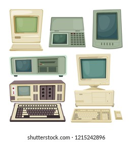 Vintage illustrations of desktop computers and other different technician gadgets. Retro equipment device with keyboard, monitor vintage