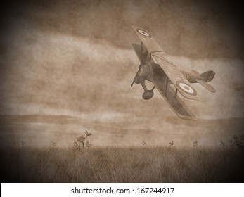 Vintage image of a biplane flying upon the grass with flowers