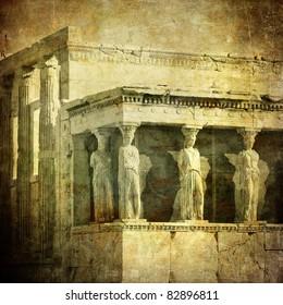 Vintage image of Caryatids, Acropolis, Athens, Greece