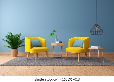 Vintage interior of living room,,Blueprint home decor concept ,two armchairs with wood table on blue wall and Hardwood Flooring ,3d render
