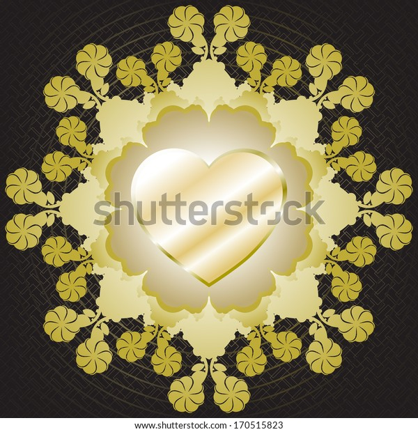 Vintage invitation card with gold, silver heart and lace ornament.