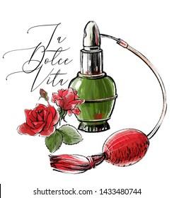 Vintage Italian perfume cologne. Hand drawn print with motivational inscription: la dolce vita (the sweet life).