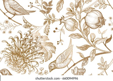 Vintage Japanese chrysanthemum flowers, pomegranates, branches, leaves and birds. Seamless pattern. Illustration for fabrics, phone case paper, gift packaging, textiles, interior design, cover.