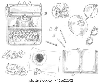 Vintage journalist set with vintage typewriter machine. Journalist equipment top view illustration. Nostalgia sketch. Hand draw journalism concept with: crumpled paper, table lamp, glasses and coffee