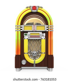 Vintage Jukebox Radio Isolated. 3D rendering