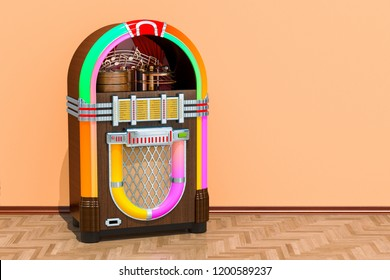 Vintage jukebox in room on the wooden floor, 3D rendering