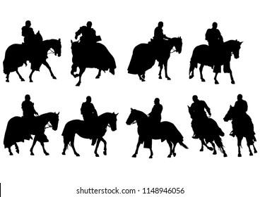 Vintage knight on horseback on a white background