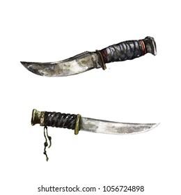 Vintage Knives. Watercolor Illustration.