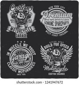 Vintage labels set with lettering composition on dark background. T-shirt design. Raster copy