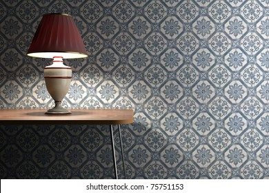 vintage lamp on a desk with blue and white tiles decorated on background