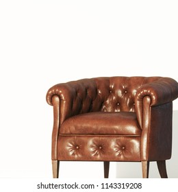 Vintage leather armchair on white background 3D render