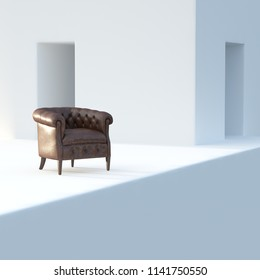 Vintage leather armchair in white interior 3D render