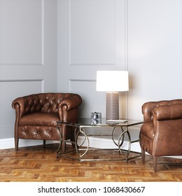 Vintage leather armchairs and glass table with lamp in classic interior 3D render