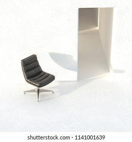 Vintage leather black office chair in white interior 3D render