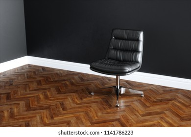 Vintage leather office chair in classic interior with wooden floor 3D render