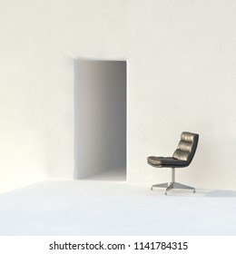 Vintage leather office chair in white interior 3D render