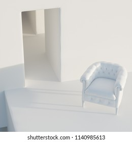 Vintage leather white armchair in white interior 3D render