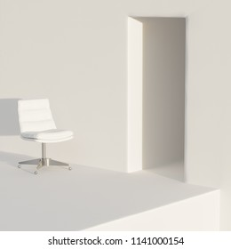 Vintage leather white office chair in white interior 3D render