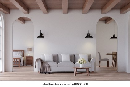 Vintage living 3d rendering image.The Rooms have wooden floors and ceilings with white walls and arch windows. Look through the door to see the bedroom and dining room behind