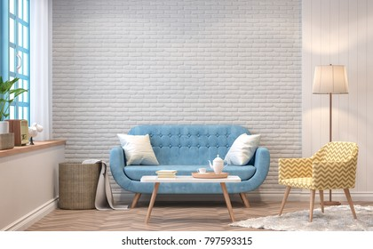 Vintage living room 3d rendering image.The Rooms have  wooden floors and white brick walls.furnished with blue sofa and yellow chair There are blue window overlooking to the nature.