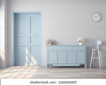 Vintage living room 3d render,There are white brick pattern wall,wood floor,blue pastel color door and cabinet,The room has sunlight shining to the wall.