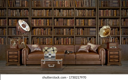 Vintage living room.Leather sofa and library with old phone,old recorder,old brass horn gramophone.3d rendering