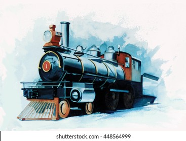 A vintage locomotive, steam engine or train in watercolor with a big light on the front & numbered 1