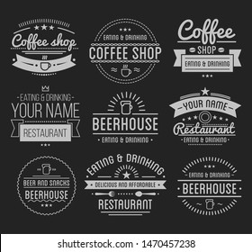 Vintage logo. Coffee shop template. Restaurant label. Beer house label. Graphic design element for business cafe, bar, pub.  Illustration isolated on background.