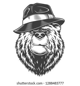 Vintage logo style bear in fedor hat with cigarette.  illustration